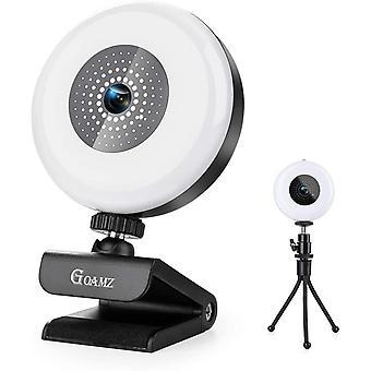 FengChun 2K Webcam mit Mikrofon und Ringlicht, HD-Webcam mit Stativ, USB-betriebene Webcam mit