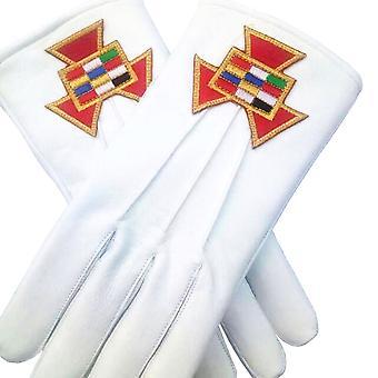柔らかい革のフリーメーソン手袋過去の大祭司PHP刺繍