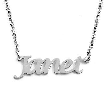"""L Janet - Verstelbare ketting met aangepaste naam, zilvertint, 16""""- 19"""
