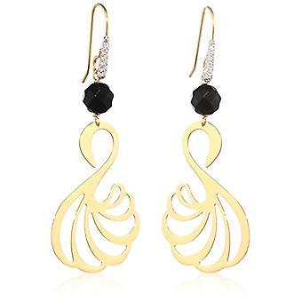 Misis Women-EarringsMirabilia Silver 925 White zircons onyx enamel 6 cm - OR09097NE
