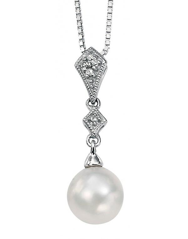 9 CT White Gold With Pearl And Diamond Necklace