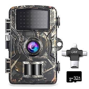 12MP 1080P الحياة البرية الصيد تريل في الهواء الطلق الأشعة تحت الحمراء رؤية ليلية الصيد الكشفية الكاميرا مع بطاقة TF 32GB و4 في 1 قارئ بطاقة