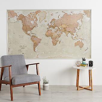 Enorm antik världskarta (laminerad)
