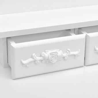 juego de tocador vidaXL con taburete Blanco 50x59x136cm Madera de Paulownia