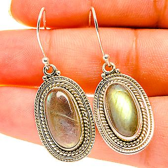 """Labradorite Earrings 1 1/2"""" (925 Sterling Silver)  - Handmade Boho Vintage Jewelry EARR417189"""