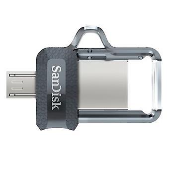 SanDisk Ultra Dual USB m 256Gb, USB 3.0, 150 MB/S, Noir/Clair