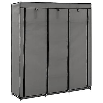 Wardrobe With Pockets And Rods 150X45X175 Cm Fabric Grey