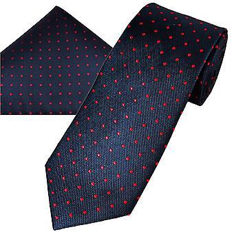 Nyakkendők Planet Gold Label Navy Blue , Piros Pöttyös Selyem férfi nyakkendő , Pocket Square zsebkendő szett