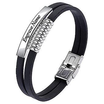 Bracelets en acier inoxydable, bracelet en cuir double couche