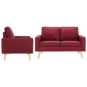 vidaXL 2 pcs. Sofa set fabric wine red