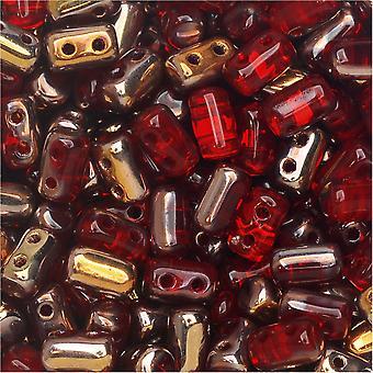Tsjechisch glas matubo, cilindrische 2-gats Rulla kralen 3x5mm, 22 gram buis, Ruby Capri goud