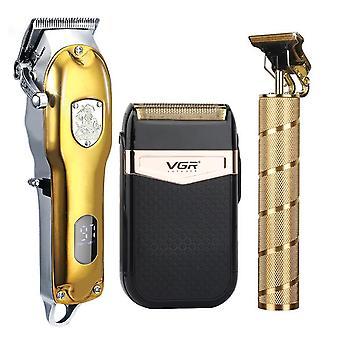 2021 مقص الشعر تعيين تشذيب الشعر الكهربائي آلة تشذيب الحلاقة اللاسلكية 0mm الرجال حلاق آلة قص الشعر للرجال القابلة لإعادة الشحن
