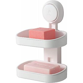 Double Layer Soap Dish Suction Cup Soap Holder Strong Sponge Holder
