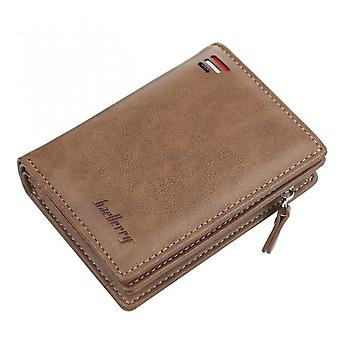 Brand Men Pu Leather Short Wallet With Zipper Coin Pocket Vintage Big Capacity Male Short Money Purse Card Holder New