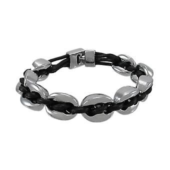 Black Leather And Chrome Marine Link Bracelet 7 Inch