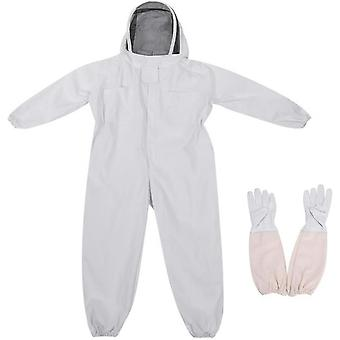 Beekeeping Protective Suit White Space Suit One Piece + Sheepskin Glove Set With Veil Cap-white (l)
