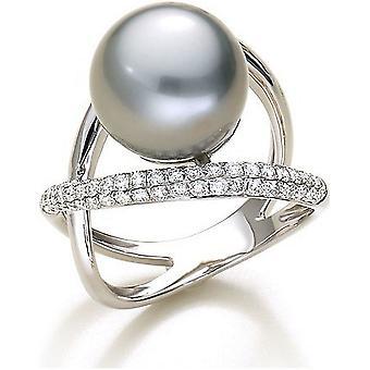 Luna-Pearls Tahiti-Perlenring 750/- WG 67 Brillanten 0,69ct. Gr 56 (17.8mm)