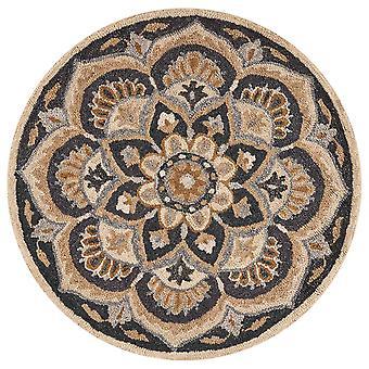 4' pyöreä musta kukka kukka alue matto