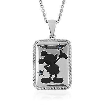 Mickey Mouse Silhouette Anhänger für Frauen 20'' Kristall in Edelstahl 0.01ct