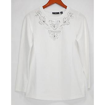 Susan Graver Women's Top (XXS) Terry Francés Embellished Blanco A286560