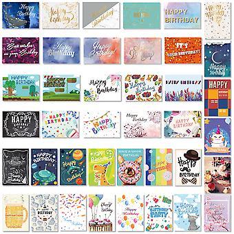 Partykindom 40pcs Birthday Cards With 40pcs Envelopes Creative Birthday Cards Bulk Box Set