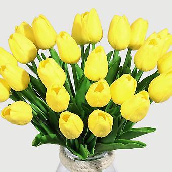 פרחים מלאכותיים צבעוני פרח מזויף לטקס חומר מגע אמיתי 10pcs(צהוב)