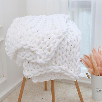 Seeunique Chunkey Stickad Filt - Mjuk stickad garn filt virkad kastfilt för soffa, säng, soffa