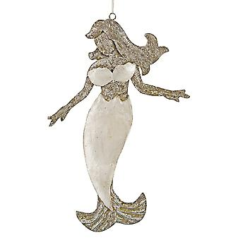 Shimmery Mermaid Capiz Shell Christmas Holiday Ornament 6.75 Inch