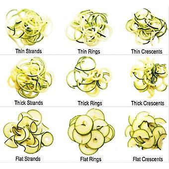 Spiralina2Go-növényi Spiraliser, 5 vágószerszámok, hogy spagetti/Julienne Tagliatelli & spirál szalagok a zöldségek keverjük-krumpli saláták és tésztaételek + Villa Spoon konténer kézi Gárda ingyenes recept ötletek.