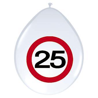 Balão de balões 8 St tráfego sinal número 25 aniversário decoração 30 cm