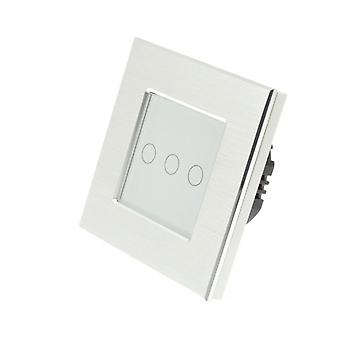 I LumoS Silver Brushed Aluminium 3 Gang 1 Way Remote Touch LED Light Switch White Insert