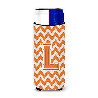 Letter L Chevron Orange and White Ultra Beverage Insulators for slim cans