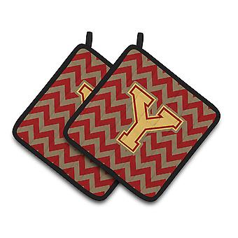 Letter Y Chevron Garnet and Gold  Pair of Pot Holders