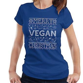 Camiseta de las mujeres patrón de punto de vegano feliz Navidad