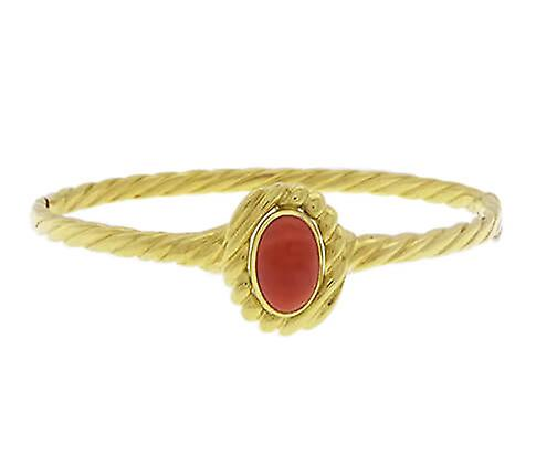 Yellow Gold Bracelet with red coral