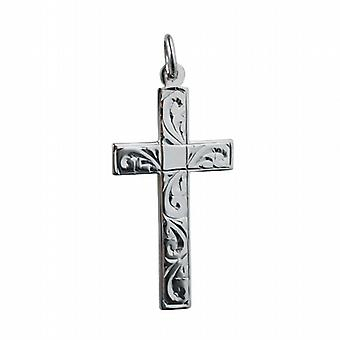 Silver 34x19mm hand engraved flat latin Cross