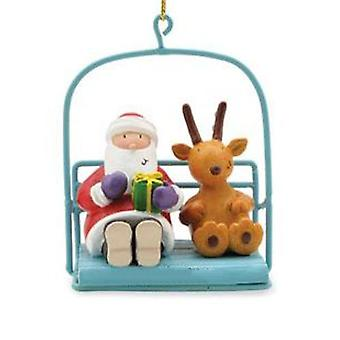 Cape Shore Skiing Santa in Chairlift Holiday Christmas Ornament Resin