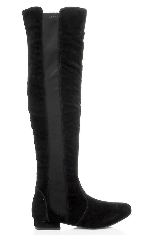 Ajvani womens low heel flat over the knee elastic stretch zip riding boots 63QpT