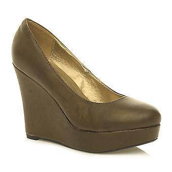 naisten platform naisten classic suuri kiila pehmeä manteli toe muoto nilkan tuomioistuin kengät pumput