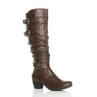 Ajvani womens mid low block cuban heel buckle western ruched slouch calf knee boots