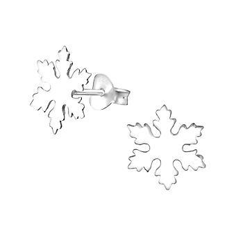 Copo de nieve - zarcillos llano de plata esterlina 925 - W33625X