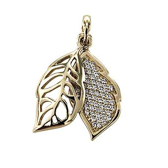 Gold Leaf and Silver 925 pendant adorned with White Swarovski Crystals 6586
