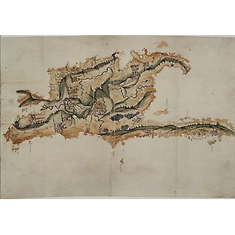 Map of the island of Santo Domingo (pen, ink.. - Art Print