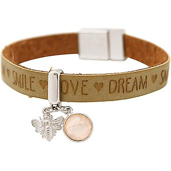 -Браслет - Би - би - 925 серебро - пожелания - коричневый песчаная - розовый кварц - розовый - Магнитная застежка