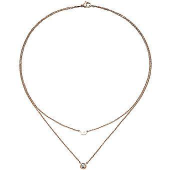 Collana corona 2-riga collana in acciaio inox rosa oro colore rivestito 1 Zikonia