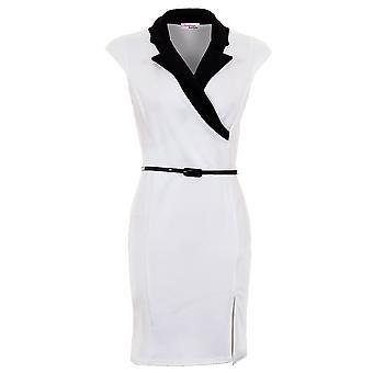 Dames Cap mouw geriemde Wrap Collared Side Split vrouwen jas Bodycon jurk