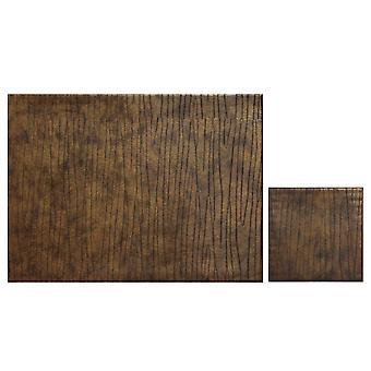 iStyle sett av 4 Faux skinn Placemats, bronse med gratis Coasters
