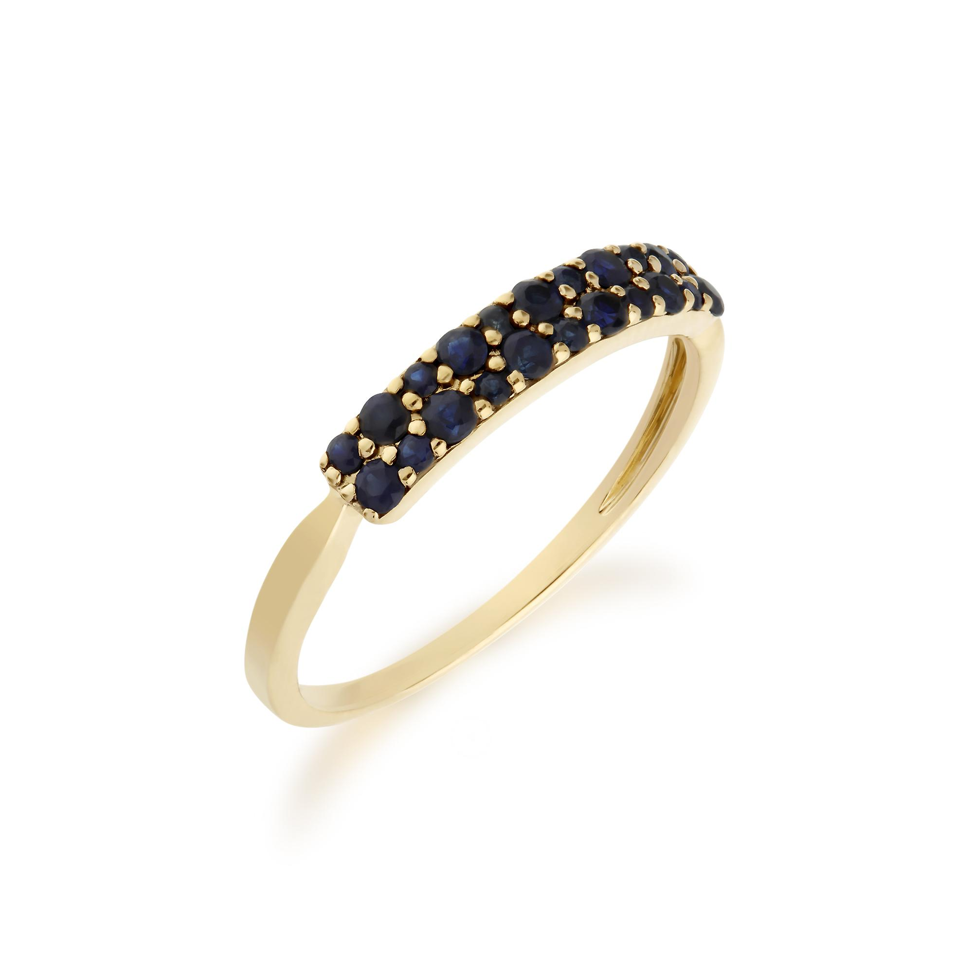 Gemondo 9ct Yellow Gold Sapphire Cluster Panel Ring