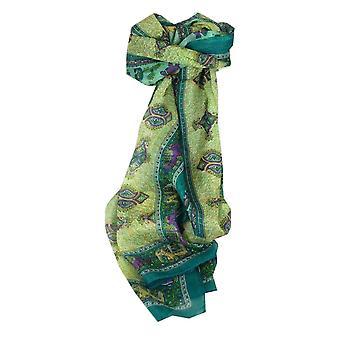 Mora seda bufanda larga tradicional Rei Teal por Pashmina y seda