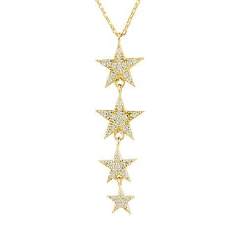 Latelita Star Drop Pendant Necklace Yellow Gold Sterling Silver White CZ Stars